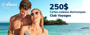 Gagnez l'une des deux cartes-cadeaux Club Voyages de 250$ en collaboration avec Guidevacances.ca!