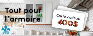 Gagnez une carte cadeau de 400$ de chez Tout pour l'Armoire!